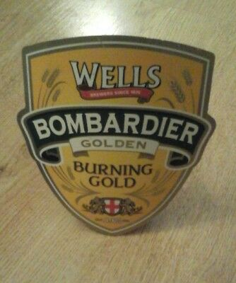 Wells Bomardier Burning Gold Real Ale Beer Pump Clip Sign Collectible Man Cave