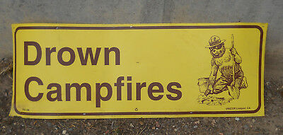 """US Forest Service """"Drown Campfires"""" Sign"""