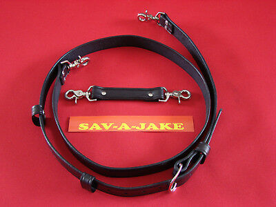 Sav-A-Jake Firefighter 2 pc. Leather Radio Strap Set Black Regular Size