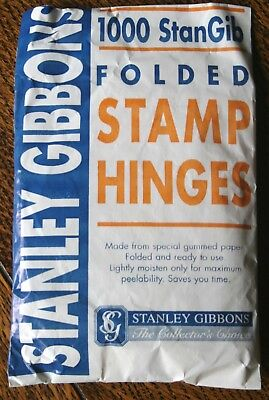 Stanley Gibbons Folded Stamp Hinges.   New, unopened packet of 1,000  No. 3