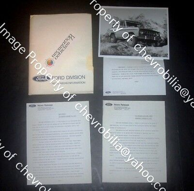 1971 Ford BAJA BRONCO 4x4 Bill Stroppe Pickup Truck PRESS KIT: Photo & Releases