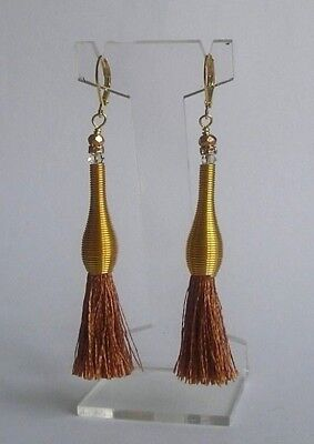 Brown Tassel & Glass Bead Earrings With Gold Plated Lever Hooks
