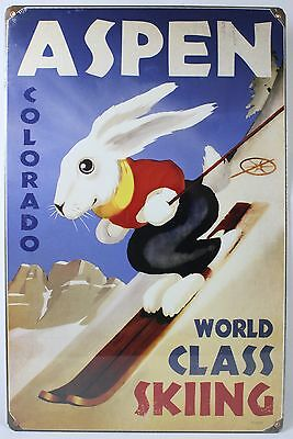 ASPEN WORLD CLASS SKIING STEEL SIGN Colorado Snow Sports NEW Vintage Poster USA