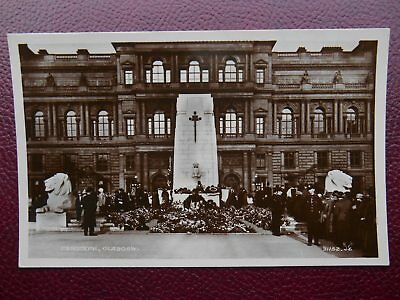WW1 Cenotaph War Memorial GLASGOW RP c1924 Policemen Mourners Floral Tributes
