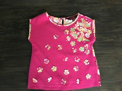 Girls Ted Baker pink floral backed T-shirt, worn twice,