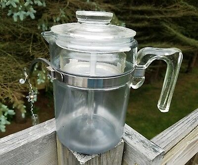 Vintage Pyrex Flameware Coffee Percolator Glass With Glass Stem And Basket