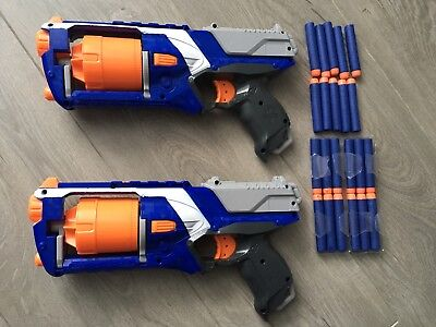 Nerf Gun Bundle - 2 Motorised Strongarm and Jolt guns with 22 foam bullets - VGC