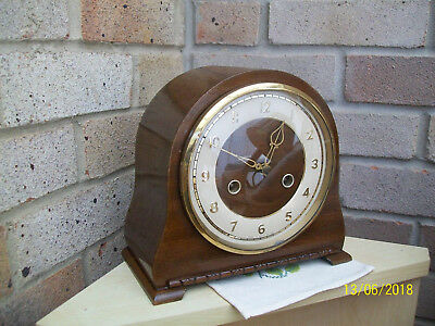 Retro 50s-60s Smiths Enfield wind up oak Hour & Half Hour Chime Mantle Clock GWO