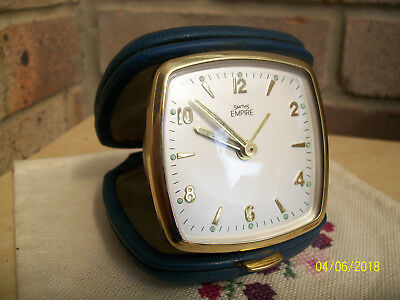 Retro 60s-70s Smiths Empire brass wind up Travel Alarm Clock in leather Case GWO