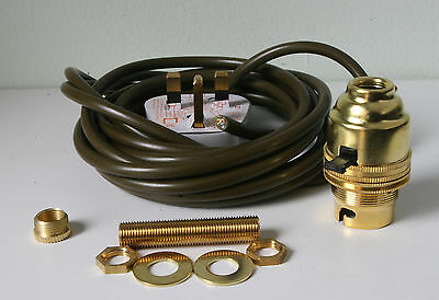 Brass switched lamp holder Kit BC fitting c/w 10mm thread plug 3 metres of wire