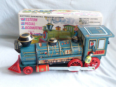 Masudaya Western Special Locomotive Blech Tin Toy 60er Jahre Japan in Box