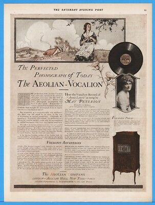 1918 Aeolian Co New York Vocalion Record Phonograph Will Hammer Art Magazine Ad