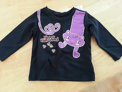 NWT THE CHILDREN'S PLACE Girl 6-9 Months Black Happy Halloween Cat Shirt