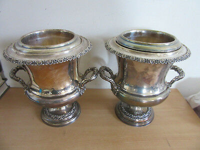 Pair Antique Victorian fancy silver plate weighted insulated Champagne Ice Bucke