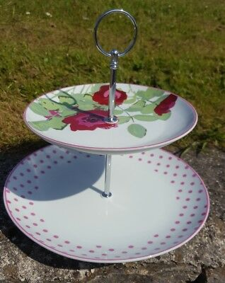 Brand New Avon Country Rose White And Red Floral Cake Stand