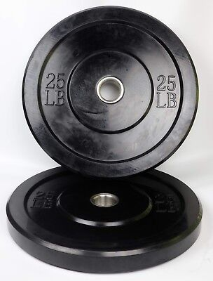 """Bumper Plates 25 LB Pair Solid Rubber 2"""" Olympic Weights 2x25 Bumpers ISF WOD"""