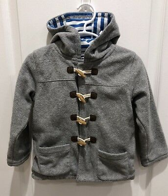 Baby Boden Gray Toggle Warm Fleece Hood Lined Jacket Boy or Girl SIZE 2 3 YEAR