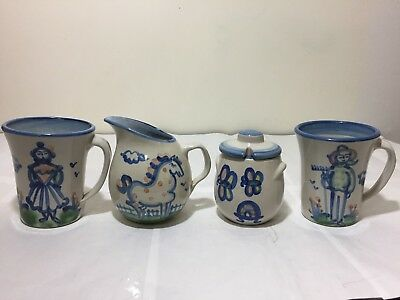 Vintage Lot 4 Pcs Ma Hadley Cups Creamer Mugs Sugar Bowl Art Pottery Farmer
