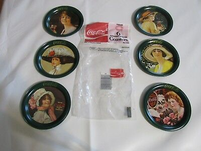 Nip Vintage 1983 Collectible Coca Cola Tin Coasters 6 Different Designs