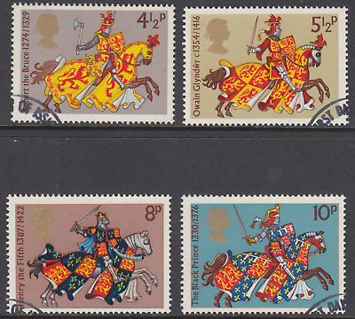 GB Stamps 1974, Medieval Warriors, set of 4 Very Fine Used from FDC. SG 958-961