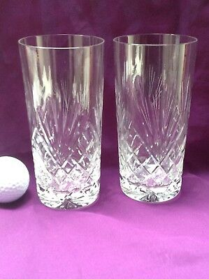 2 Zawiercie 24% Hand Cut Lead Crystal Large Highball Glasses MAJESTIC gnt