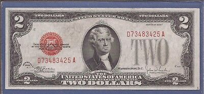 1928 F $2 United States Note (USN),Large Red Seal,circulated Very Fine,Nice!