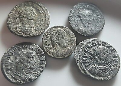 Lot Of 5 Ancient Roman Bronze Coins Carus Aurelian Maximian Valentian