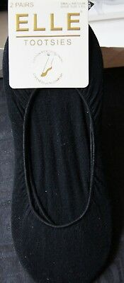"""Elle Black """"Tootsies"""" Sheer 2 Pairs Cotton Rich Shoe Liners S/M"""