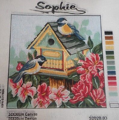 2 BIRDS & YELLOW BIRDHOUSE - Tapestry to Stitch (NEW) by SOPHIE