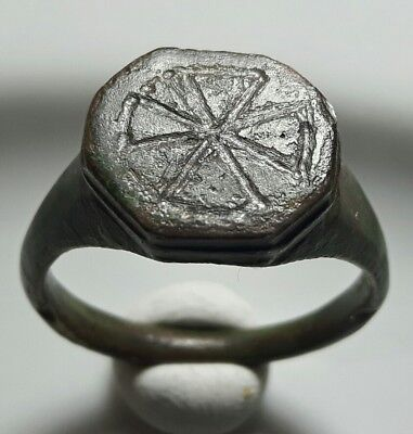 Crusaders ** Cross ** Bronze Octagonal Ring ** Rare Early Christian