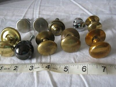 vintage 10 BRASS /METAL KNOBS,AND BACK PLATES
