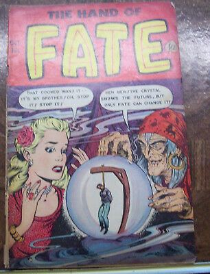 Vintage 1952 10 cent Golden Age HORROR comic book THE HAND OF FATE #13 ESTATE