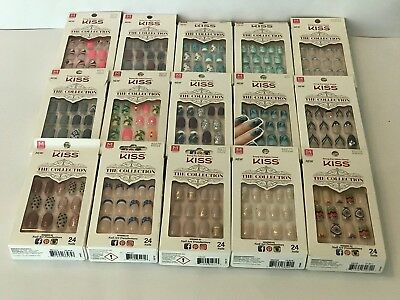 KISS THE COLLECTION NAILS MEDIUM LENGTH GLUE ON NAIL KIT U CHOOSE New Designs!