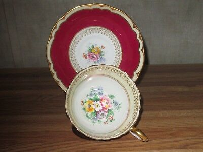 Fine Bone China cup and saucer with holder Crown 1894 Staffordshire, England