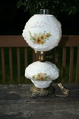 Vintage Ball Type Gone With The Wind Glass Shaded Table Lamp Lion Head
