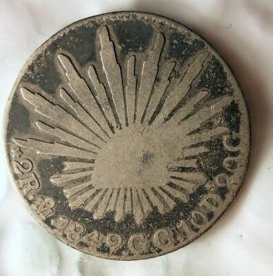 1849 MEXICO 2 REALES - Scarce Type Silver Coin - HUGE VALUE - LOT #617