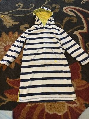 Mini Boden Girls Terry Cloth White and Blue Striped Hooded Toweling Dress 5-6