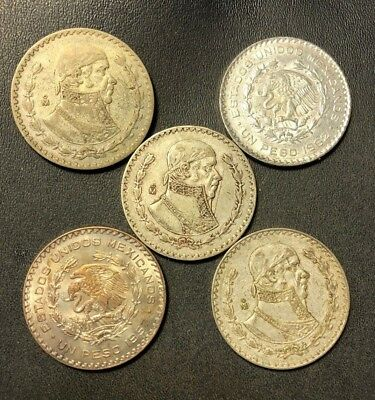 Old Mexican Coin Lot - 5 Silver Pesos - 1957-1964 - Lot #617