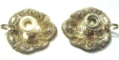 Pair of Gorham Sterling Silver Ornate Candle Holders
