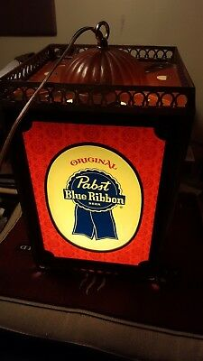 PABST BLUE RIBBON BEER Hanging Rotating Lamp Light EXCELLENT WORKS!!!