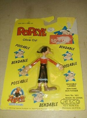 Vintage 1988 Olive Oyl Mint On Card Bendable/Poseable King Features Syndicate