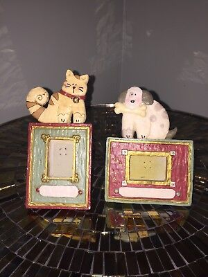 Pair of Kurt S. Adler dog and cat picture frames