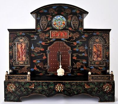 Fine antique Chinese shrine cabinet lacquer cinnabar cloisonne Qing dynasty 1880
