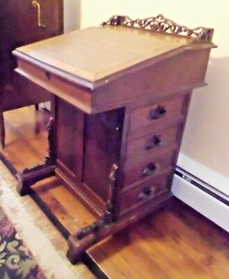 "Antique Walnut Davenport Desk w ""Drawers"" on Both Sides Slant Top Cubbyholes"