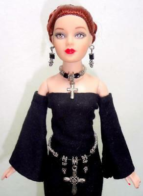 "Black Gothic ELVIRA Doll Outfit for Tonner 10"" Tiny Kitty Coquette Cross Jewelry"