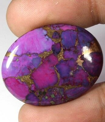AWESOME~29.40Cts NATURAL WEB NEON PURPLE COPPER TURQUOISE OVAL CABOCHON GEMSTONE