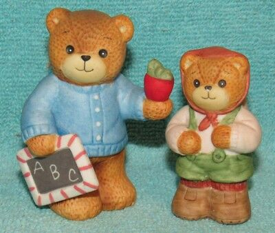2 Vintage Lucy & Me Bear Figurines, Going to School with Apple & Backpack