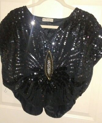 Vintage beautiful deco-inspired butterfly sequin top size small
