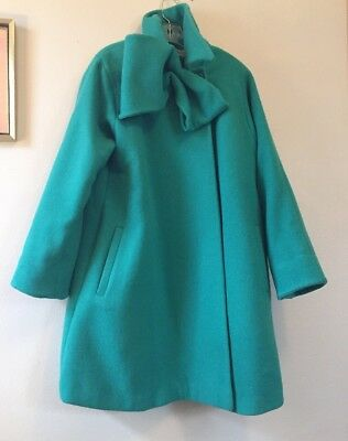 VTG Christian DIOR Aqua Green Wool Swing Coat Bow Tie Mod Jacket 50s 60s L