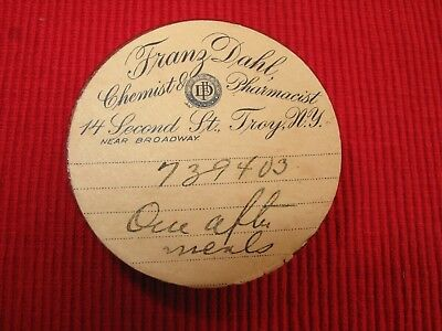 VTG antique paper PILL BOX pharmacy chemist FRANZ DAHL BRDWY TROY NY APOTHECARY